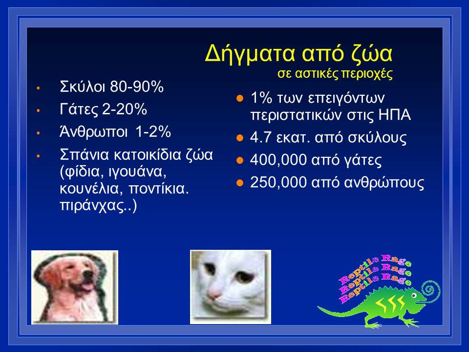 Δήγματα από ζώα σε αστικές περιοχές Σκύλοι 80-90% Γάτες 2-20% Άνθρωποι 1-2% Σπάνια κατοικίδια ζώα (φίδια, ιγουάνα, κουνέλια, ποντίκια. πιράνχας..) l 1