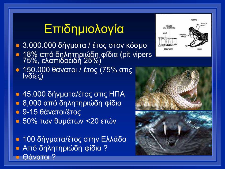 Επιδημιολογία l 3.000.000 δήγματα / έτος στον κόσμο l 18% από δηλητηριώδη φίδια (pit vipers 75%, ελαπιδοειδή 25%) l 150.000 θάνατοι / έτος (75% στις Ι