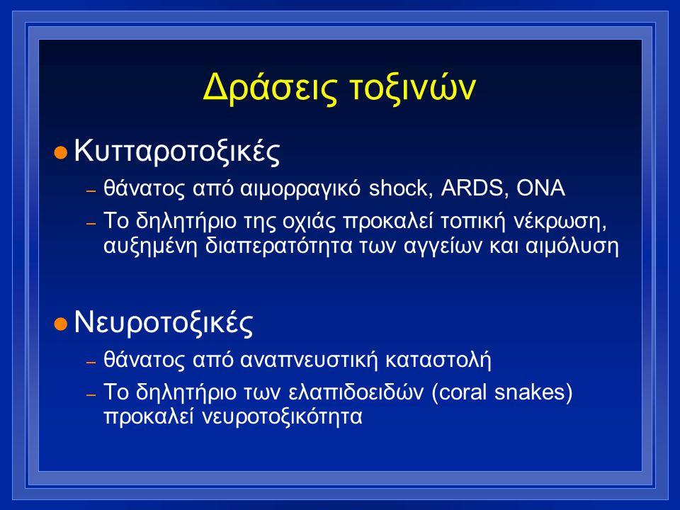 Δράσεις τοξινών l Κυτταροτοξικές – θάνατος από αιμορραγικό shock, ARDS, ΟΝΑ – Το δηλητήριο της οχιάς προκαλεί τοπική νέκρωση, αυξημένη διαπερατότητα τ