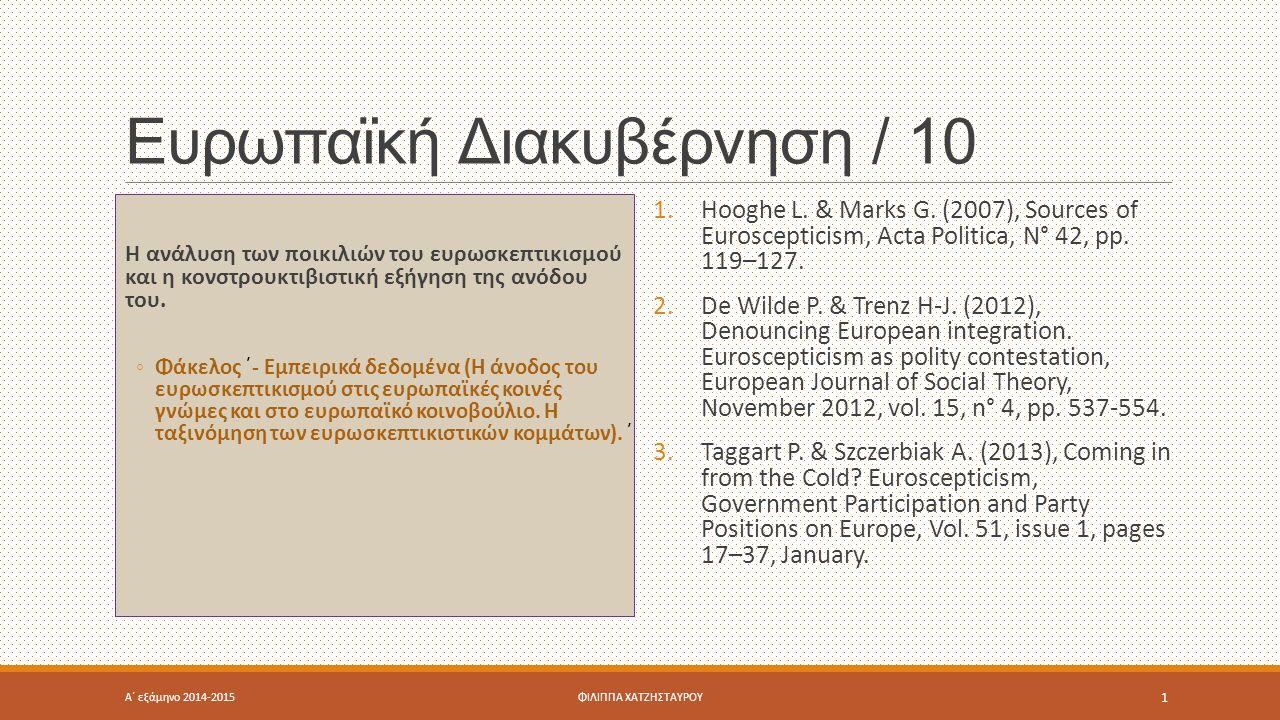 Ευρωπαϊκή Διακυβέρνηση / 10 Η ανάλυση των ποικιλιών του ευρωσκεπτικισμού και η κονστρουκτιβιστική εξήγηση της ανόδου του. ◦Φάκελος ΄- Εμπειρικά δεδομέ