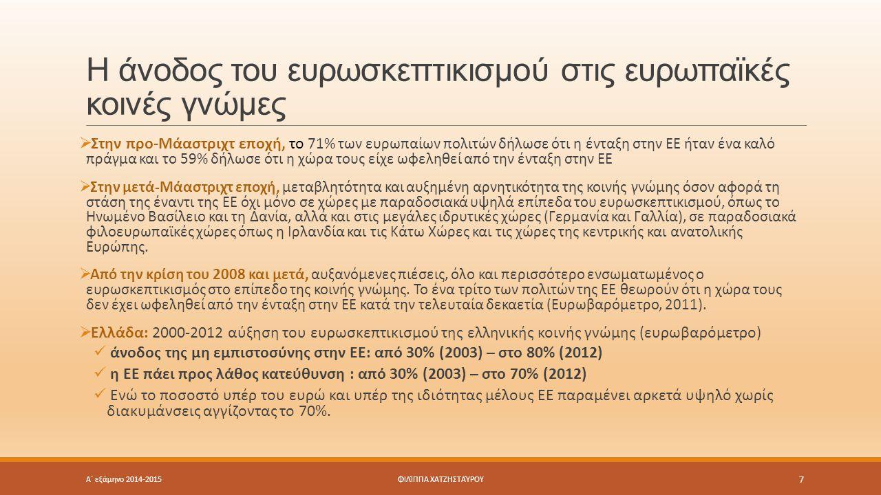 Η άνοδος του ευρωσκεπτικισμού στις ευρωπαϊκές κοινές γνώμες Α΄ εξάμηνο 2014-2015 7 ΦΙΛΊΠΠΑ ΧΑΤΖΗΣΤΑΎΡΟΥ  Στην προ-Μάαστριχτ εποχή, το 71% των ευρωπαί