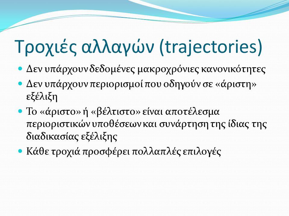 Τροχιές αλλαγών (trajectories) Δεν υπάρχουν δεδομένες μακροχρόνιες κανονικότητες Δεν υπάρχουν περιορισμοί που οδηγούν σε «άριστη» εξέλιξη Το «άριστο» ή «βέλτιστο» είναι αποτέλεσμα περιοριστικών υποθέσεων και συνάρτηση της ίδιας της διαδικασίας εξέλιξης Κάθε τροχιά προσφέρει πολλαπλές επιλογές