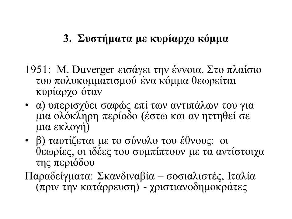 3. Συστήματα με κυρίαρχο κόμμα 1951: M. Duverger εισάγει την έννοια. Στο πλαίσιο του πολυκομματισμού ένα κόμμα θεωρείται κυρίαρχο όταν α) υπερισχύει σ