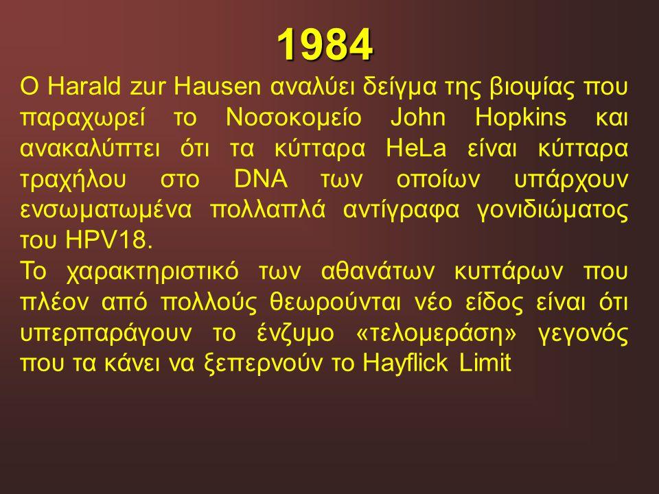 1984 O Harald zur Hausen αναλύει δείγμα της βιοψίας που παραχωρεί το Νοσοκομείο John Hopkins και ανακαλύπτει ότι τα κύτταρα HeLa είναι κύτταρα τραχήλο