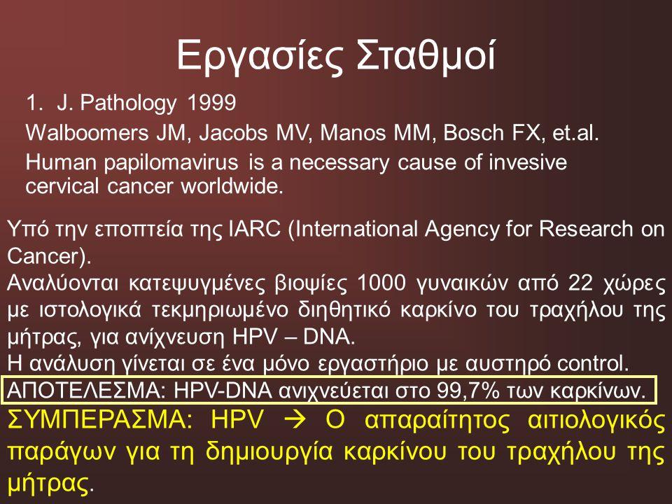 Εργασίες Σταθμοί 1. J. Pathology 1999 Walboomers JM, Jacobs MV, Manos MM, Bosch FX, et.al. Human papilomavirus is a necessary cause of invesive cervic
