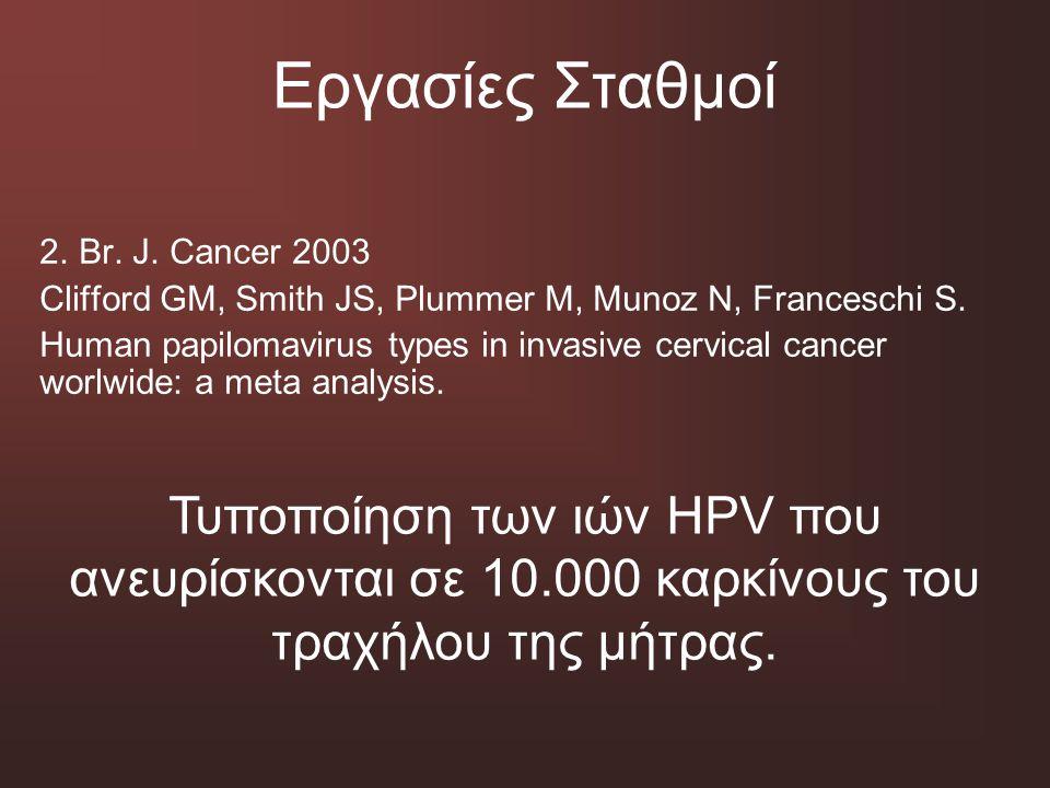Εργασίες Σταθμοί 2. Br. J. Cancer 2003 Clifford GM, Smith JS, Plummer M, Munoz N, Franceschi S. Human papilomavirus types in invasive cervical cancer
