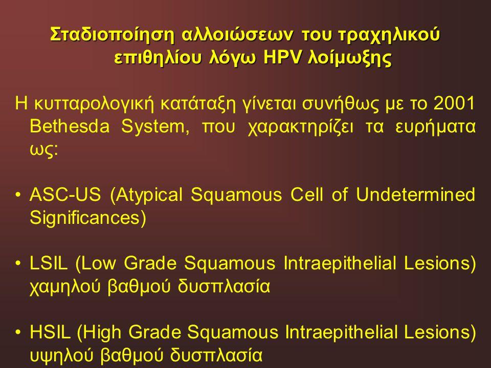 Σταδιοποίηση αλλοιώσεων του τραχηλικού επιθηλίου λόγω HPV λοίμωξης Η κυτταρολογική κατάταξη γίνεται συνήθως με το 2001 Bethesda System, που χαρακτηρίζ