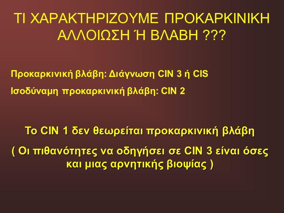 ΤΙ ΧΑΡΑΚΤΗΡΙΖΟΥΜΕ ΠΡΟΚΑΡΚΙΝΙΚΗ ΑΛΛΟΙΩΣΗ Ή ΒΛΑΒΗ ??? Προκαρκινική βλάβη: Διάγνωση CIN 3 ή CIS Ισοδύναμη προκαρκινική βλάβη: CIN 2 Το CIN 1 δεν θεωρείτα
