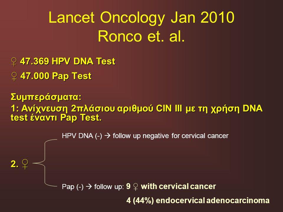 Lancet Oncology Jan 2010 Ronco et. al. ♀ 47.000 Pap Test ♀ 47.369 HPV DNA Test Συμπεράσματα: 1: Ανίχνευση 2πλάσιου αριθμού CIN III με τη χρήση DNA tes