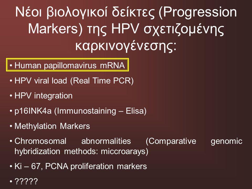 Νέοι βιολογικοί δείκτες (Progression Markers) της HPV σχετιζομένης καρκινογένεσης: Human papillomavirus mRNA HPV viral load (Real Time PCR) HPV integr