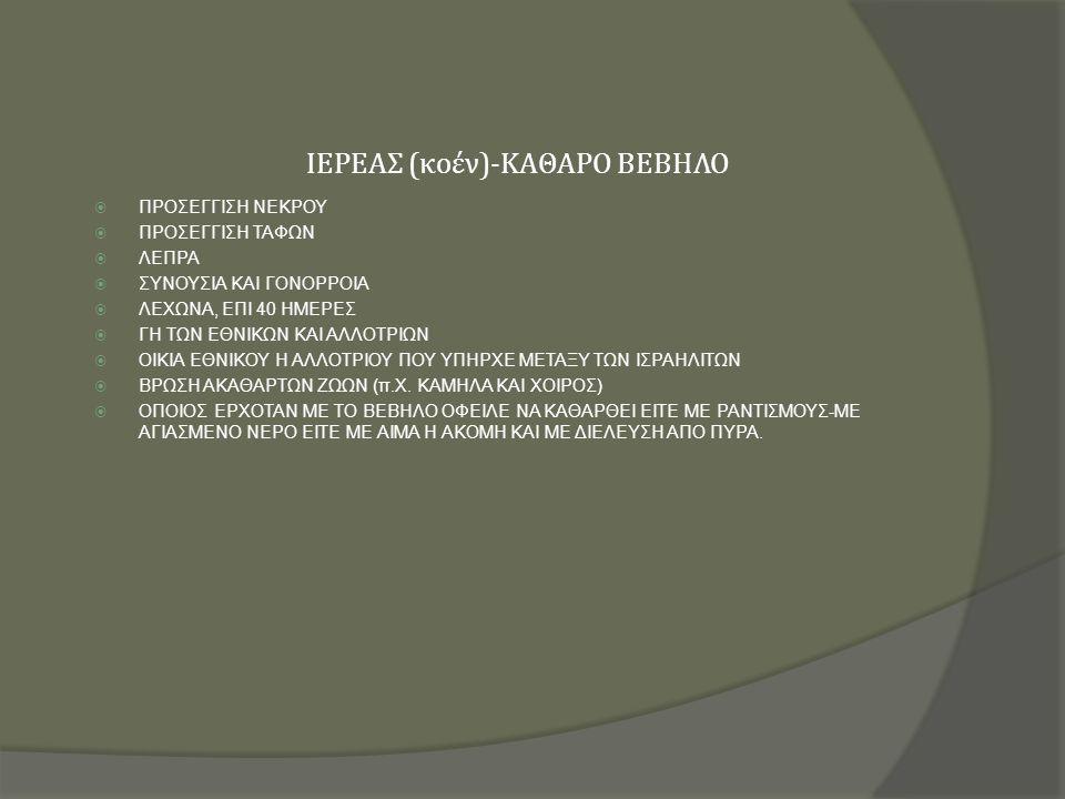 ΙΕΡΕΑΣ (κοέν)-ΚΑΘΑΡΟ ΒΕΒΗΛΟ  ΠΡΟΣΕΓΓΙΣΗ ΝΕΚΡΟΥ  ΠΡΟΣΕΓΓΙΣΗ ΤΑΦΩΝ  ΛΕΠΡΑ  ΣΥΝΟΥΣΙΑ ΚΑΙ ΓΟΝΟΡΡΟΙΑ  ΛΕΧΩΝΑ, ΕΠΙ 40 ΗΜΕΡΕΣ  ΓΗ ΤΩΝ ΕΘΝΙΚΩΝ ΚΑΙ ΑΛΛΟΤΡΙΩΝ  ΟΙΚΙΑ ΕΘΝΙΚΟΥ Η ΑΛΛΟΤΡΙΟΥ ΠΟΥ ΥΠΗΡΧΕ ΜΕΤΑΞΥ ΤΩΝ ΙΣΡΑΗΛΙΤΩΝ  ΒΡΩΣΗ ΑΚΑΘΑΡΤΩΝ ΖΩΩΝ (π.Χ.