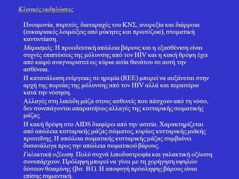 Κλινικές εκδηλώσεις oΠνευμονία, πυρετός, διαταραχές του KNΣ, ανορεξία και διάρροια (ευκαιριακές λοιμώξεις από μύκητες και πρωτόζωα), στοματική καντιντ