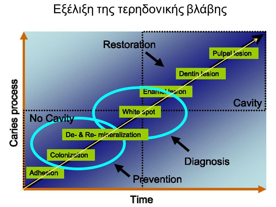 Στάδια εξέλιξης της τερηδόνας  Συνήθως απαιτείται διάστημα κάποιων μηνών ή χρόνων για την εξέλιξη μίας τερηδονικής βλάβης.  Είναι μία εξελισσόμενη δ
