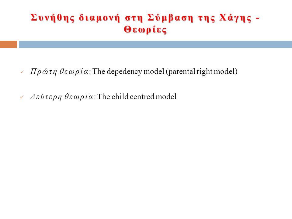 Συνήθης διαμονή στη Σύμβαση της Χάγης - Θεωρίες Πρώτη θεωρία: The depedency model (parental right model) Δεύτερη θεωρία: The child centred model