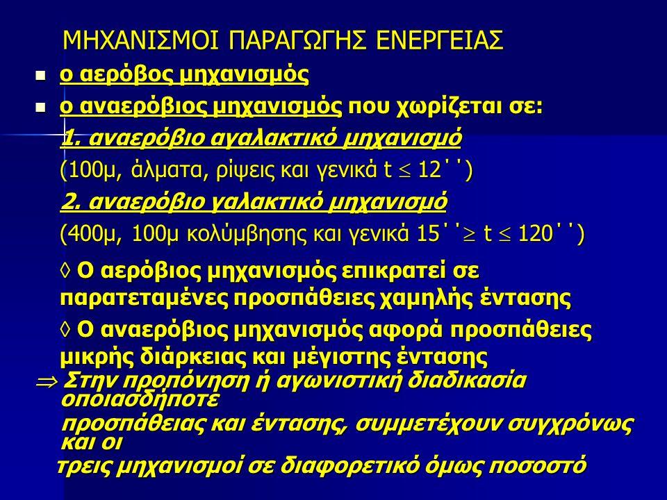 ΑΕΡΟΒΙΑ ΙΚΑΝΟΤΗΤΑ Αξιολογείται με τη μέγιστη πρόσληψη οξυγόνου (VO 2 max), η οποία εκφράζεται σε lt.