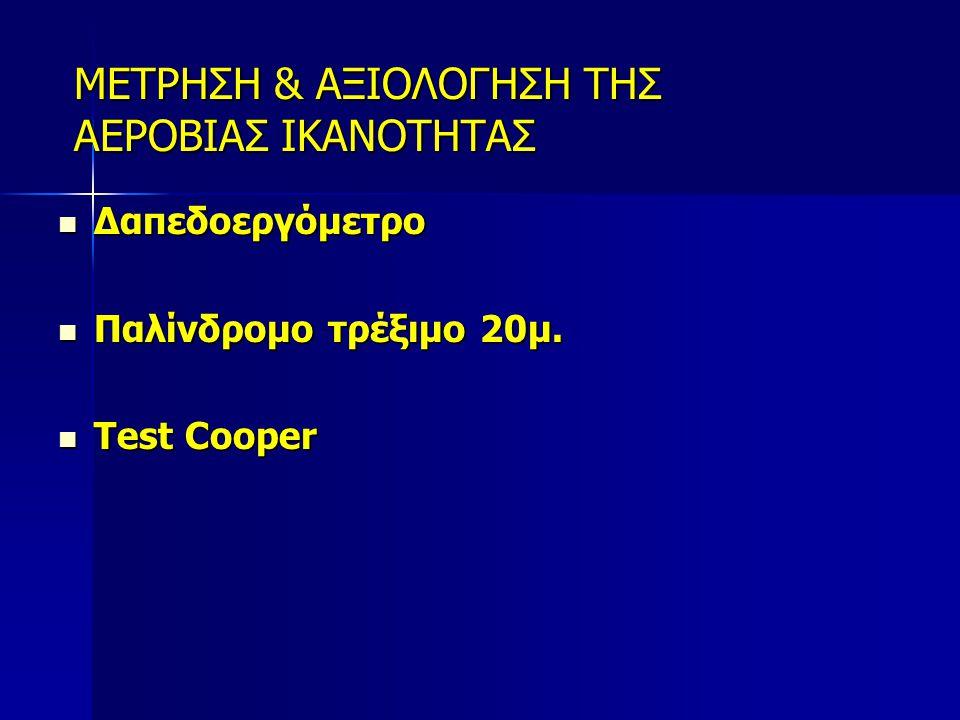 ΜΕΤΡΗΣΗ & ΑΞΙΟΛΟΓΗΣΗ ΤΗΣ ΑΕΡΟΒΙΑΣ ΙΚΑΝΟΤΗΤΑΣ Δαπεδοεργόμετρο Δαπεδοεργόμετρο Παλίνδρομο τρέξιμο 20μ. Παλίνδρομο τρέξιμο 20μ. Test Cooper Test Cooper