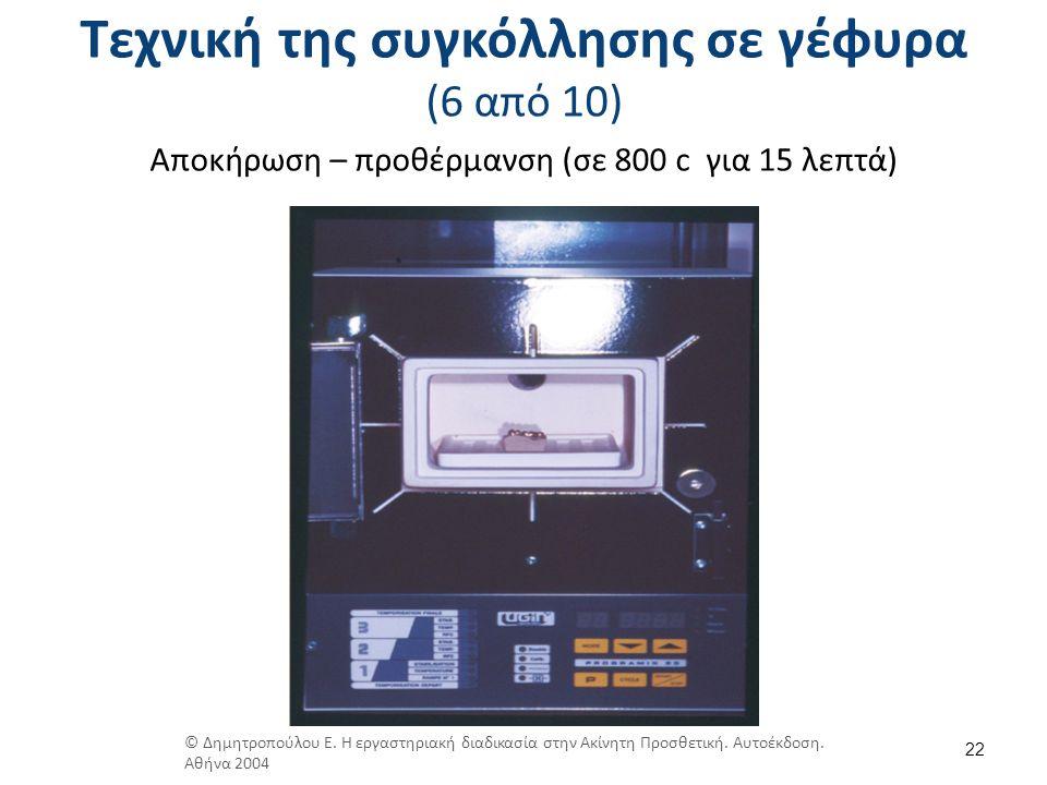 Τεχνική της συγκόλλησης σε γέφυρα (6 από 10) Αποκήρωση – προθέρμανση (σε 800 c για 15 λεπτά) 22 © Δημητροπούλου Ε. Η εργαστηριακή διαδικασία στην Ακίν