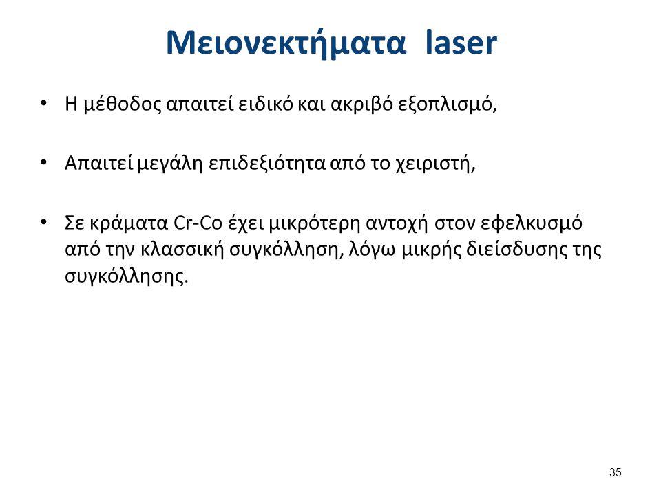 Μειονεκτήματα laser Η μέθοδος απαιτεί ειδικό και ακριβό εξοπλισμό, Απαιτεί μεγάλη επιδεξιότητα από το χειριστή, Σε κράματα Cr-Co έχει μικρότερη αντοχή