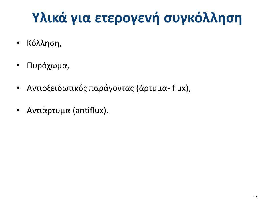 Υλικά για ετερογενή συγκόλληση Κόλληση, Πυρόχωμα, Αντιοξειδωτικός παράγοντας (άρτυμα- flux), Αντιάρτυμα (antiflux). 7