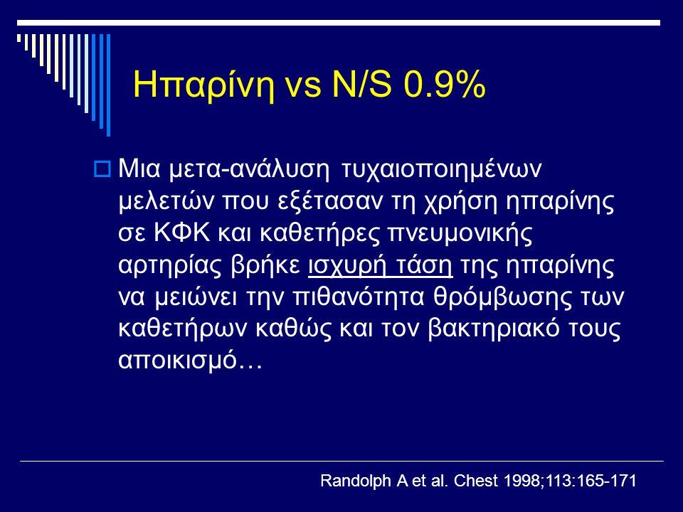 Ηπαρίνη vs N/S 0.9%  Μια μετα-ανάλυση τυχαιοποιημένων μελετών που εξέτασαν τη χρήση ηπαρίνης σε ΚΦΚ και καθετήρες πνευμονικής αρτηρίας βρήκε ισχυρή τ