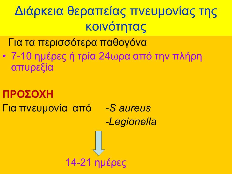 Διάρκεια θεραπείας πνευμονίας της κοινότητας Για τα περισσότερα παθογόνα 7-10 ημέρες ή τρία 24ωρα από την πλήρη απυρεξία ΠΡΟΣΟΧΗ Για πνευμονία από -S aureus -Legionella 14-21 ημέρες