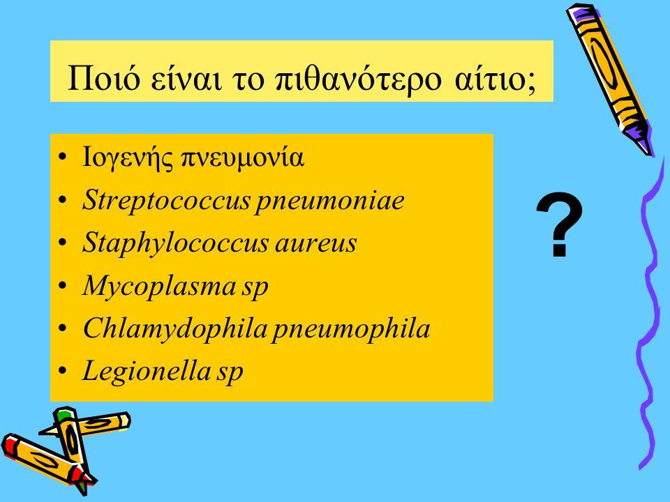 Ποιό είναι το πιθανότερο αίτιο  Ιογενής πνευμονία Streptococcus pneumoniae Staphylococcus aureus Mycoplasma sp Chlamydophila pneumophila Legionella sp ?