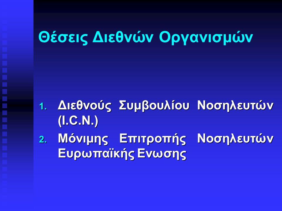 Θέσεις Διεθνών Oργανισμών 1. Διεθνούς Συμβουλίου Νοσηλευτών (I.C.N.) 2. Μόνιμης Επιτροπής Νοσηλευτών Ευρωπαϊκής Ενωσης