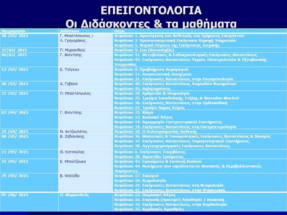 ΕΠΕΙΓΟΝΤΟΛΟΓΙΑ ΣΚΟΠΟΣ: ΣΚΟΠΟΣ: –Η απόκτηση θεωρητικών και πρακτικών γνώσεων, που θα επιτρέψουν την ακριβή εκτίμηση και τη σωστή θεραπευτική και νοσηλευτική παρέμβαση, στην αντιμετώπιση όλου του φάσματος κρίσιμων και επειγουσών καταστάσεων, σε επίπεδο Τμήματος Επειγόντων.