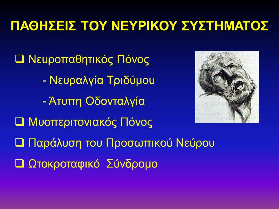  Νευροπαθητικός Πόνος - Νευραλγία Τριδύμου - Άτυπη Οδονταλγία  Μυοπεριτονιακός Πόνος  Παράλυση του Προσωπικού Νεύρου  Ωτοκροταφικό Σύνδρομο ΠΑΘΗΣΕ