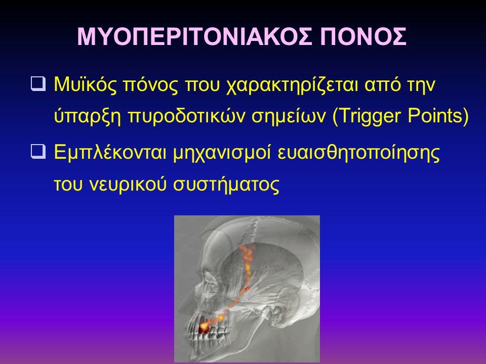 Μυϊκός πόνος που χαρακτηρίζεται από την ύπαρξη πυροδοτικών σημείων (Trigger Points)  Εμπλέκονται μηχανισμοί ευαισθητοποίησης του νευρικού συστήματο