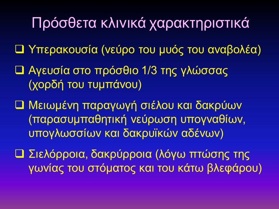  Υπερακουσία (νεύρο του μυός του αναβολέα)  Αγευσία στο πρόσθιο 1/3 της γλώσσας (χορδή του τυμπάνου)  Μειωμένη παραγωγή σιέλου και δακρύων (παρασυμ