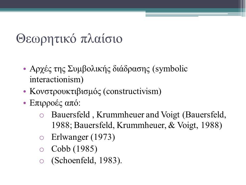 Θεωρητικό πλαίσιο Αρχές της Συμβολικής διάδρασης (symbolic interactionism) Κονστρουκτιβισμός (constructivism) Επιρροές από: o Bauersfeld, Krummheuer and Voigt (Bauersfeld, 1988; Bauersfeld, Krummheuer, & Voigt, 1988) o Erlwanger (1973) o Cobb (1985) o (Schoenfeld, 1983).