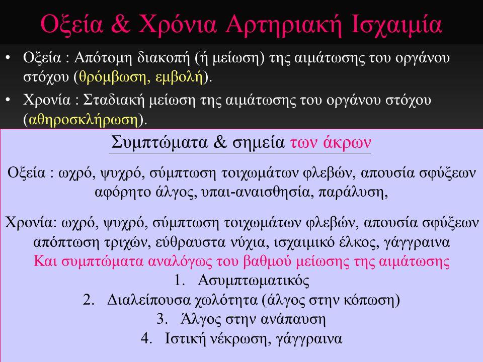 Οξεία & Χρόνια Αρτηριακή Ισχαιμία Οξεία : Απότομη διακοπή (ή μείωση) της αιμάτωσης του οργάνου στόχου (θρόμβωση, εμβολή). Χρονία : Σταδιακή μείωση της