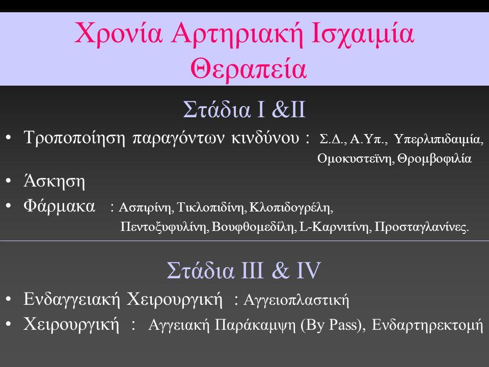 Στάδια Ι &ΙΙ Tροποποίηση παραγόντων κινδύνου : Σ.Δ., Α.Υπ., Υπερλιπιδαιμία, Ομοκυστεϊνη, Θρομβοφιλία Άσκηση Φάρμακα : Ασπιρίνη, Τικλοπιδίνη, Κλοπιδογρ