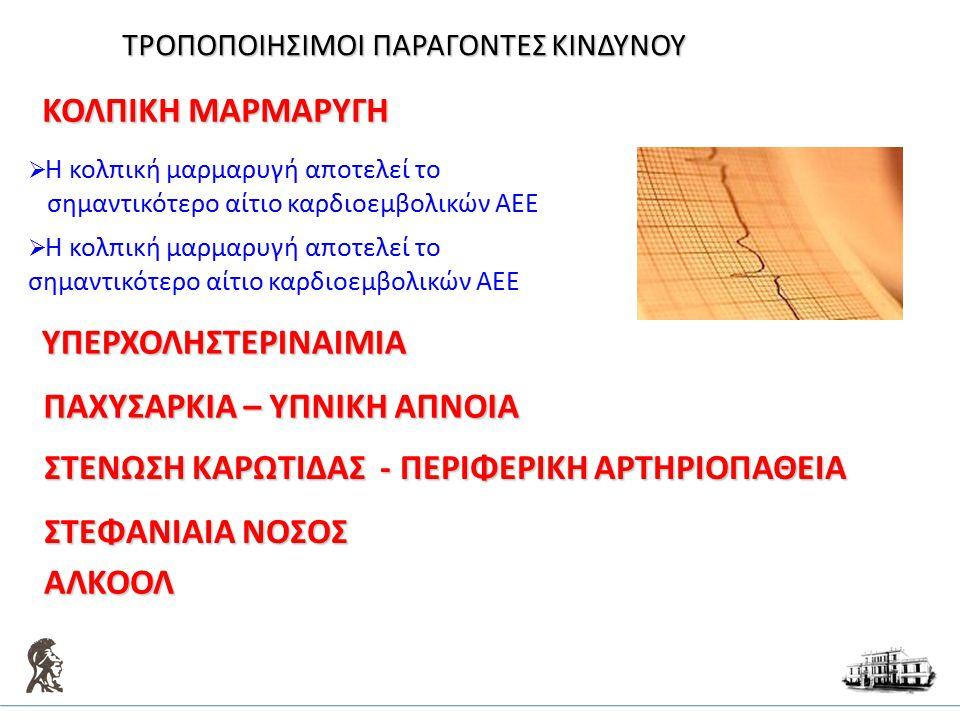 ΚΟΛΠΙΚΗ ΜΑΡΜΑΡΥΓΗ  Η κολπική μαρμαρυγή αποτελεί το σημαντικότερο αίτιο καρδιοεμβολικών ΑΕΕ  Η κολπική μαρμαρυγή αποτελεί το σημαντικότερο αίτιο καρδ