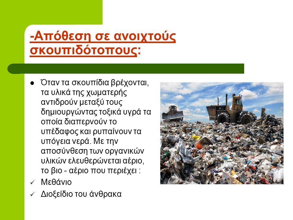 -Απόθεση σε ανοιχτούς σκουπιδότοπους: Όταν τα σκουπίδια βρέχονται, τα υλικά της χωματερής αντιδρούν μεταξύ τους δημιουργώντας τοξικά υγρά τα οποία δια