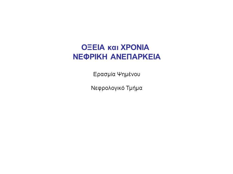 ΑΝΤΙΜΕΤΩΠΙΣΗ ΕΓΚΑΤΕΣΤΗΜΕΝΗΣ ΟΝΑ Εξωνεφρική κάθαρση Ουρία 160-200mg/dl Κάλιο> 6.5meq/L, ή >5.5 meq/L αν συνυπάρχουν ηλεκτροκαρδιογραφικές αλλοιώσεις Μεταβολική οξέωση pH<7.2 που δεν διορθώνεται με διττανθρακικά (ή ο ασθενής δεν μπορεί να πάρει διττανθρακικά) Υπερφόρτωση με υγρά Διαταραχές του νατρίου Να 155meq/L Κλινικά σημεία ουραιμίας: περικαρδίτιδα, λήθαργος, έμετος, σπασμοί, κώμα