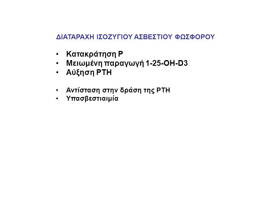 ΔΙΑΤΑΡΑΧΗ ΙΣΟΖΥΓΙΟΥ ΑΣΒΕΣΤΙΟΥ ΦΩΣΦΟΡΟΥ Κατακράτηση Ρ Μειωμένη παραγωγή 1-25-ΟΗ-D3 Αύξηση PTH Αντίσταση στην δράση της PTH Υπασβεστιαιμία