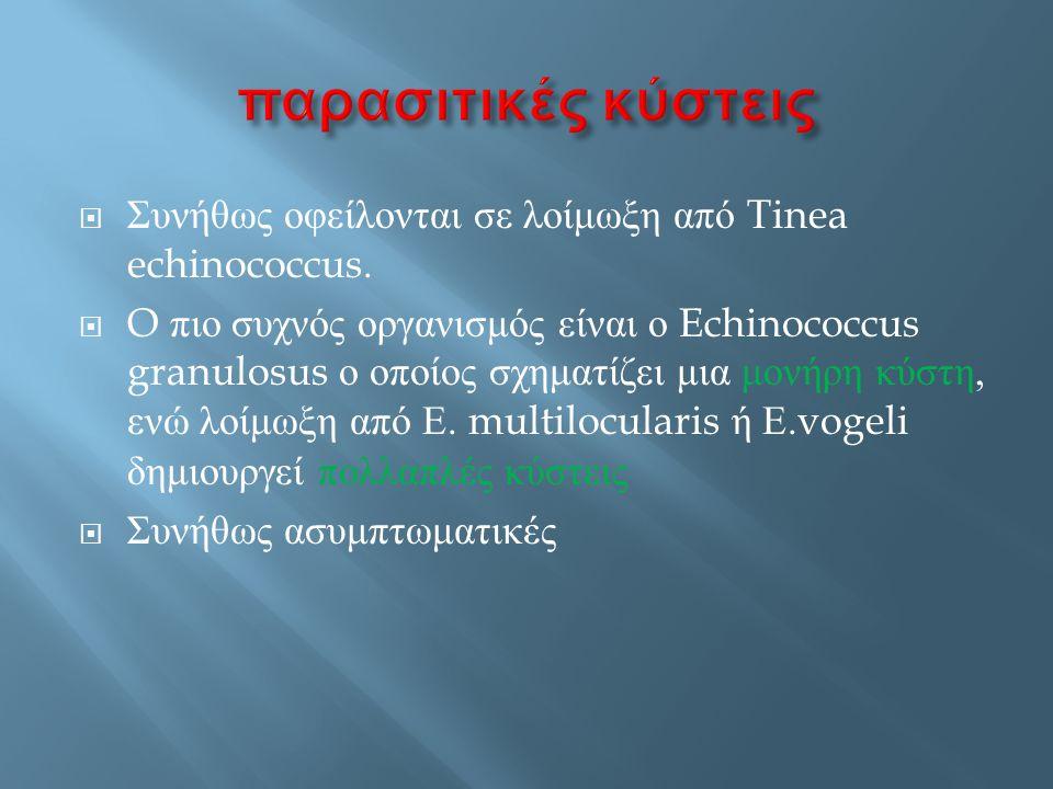  Συνήθως οφείλονται σε λοίμωξη από Tinea echinococcus.  O πιο συχνός οργανισμός είναι ο Echinococcus granulosus ο οποίος σχηματίζει μια μονήρη κύστη