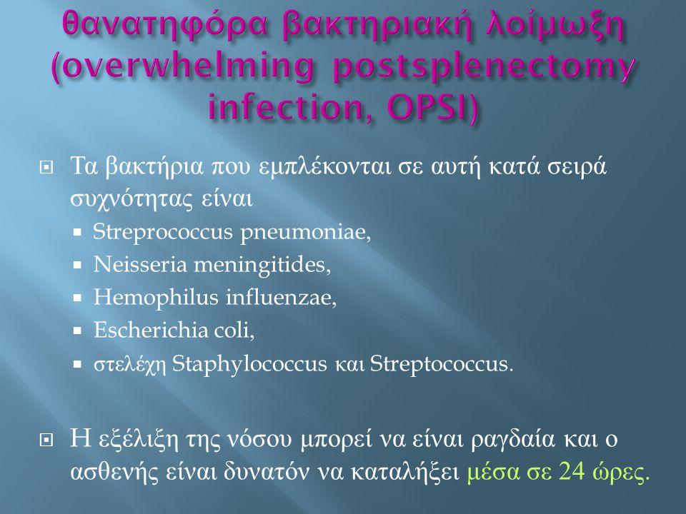  Τα βακτήρια που εμπλέκονται σε αυτή κατά σειρά συχνότητας είναι  Streprococcus pneumoniae,  Neisseria meningitides,  Hemophilus influenzae,  Esc