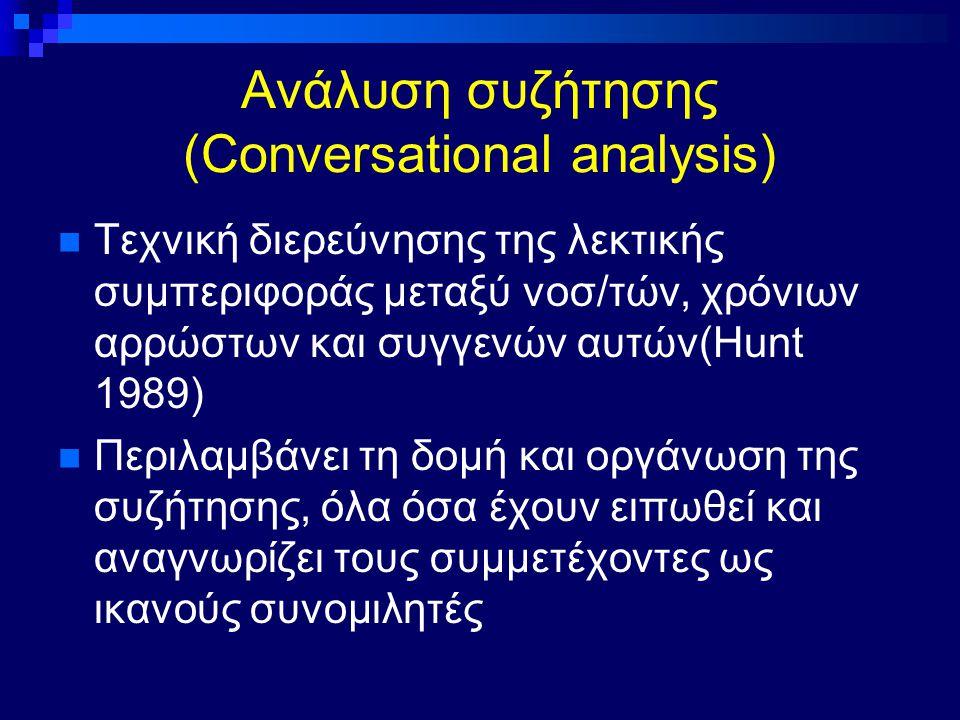 Ανάλυση συζήτησης (Conversational analysis) Τεχνική διερεύνησης της λεκτικής συμπεριφοράς μεταξύ νοσ/τών, χρόνιων αρρώστων και συγγενών αυτών(Hunt 198