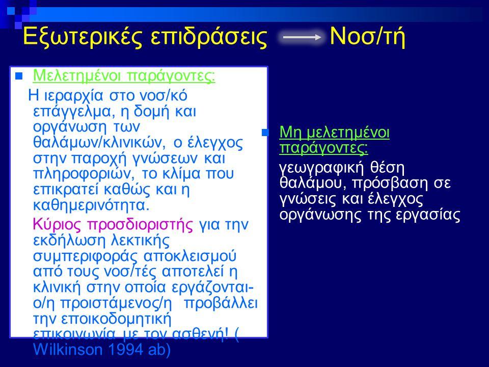 Εξωτερικές επιδράσεις Νοσ/τή Μελετημένοι παράγοντες: Η ιεραρχία στο νοσ/κό επάγγελμα, η δομή και οργάνωση των θαλάμων/κλινικών, ο έλεγχος στην παροχή
