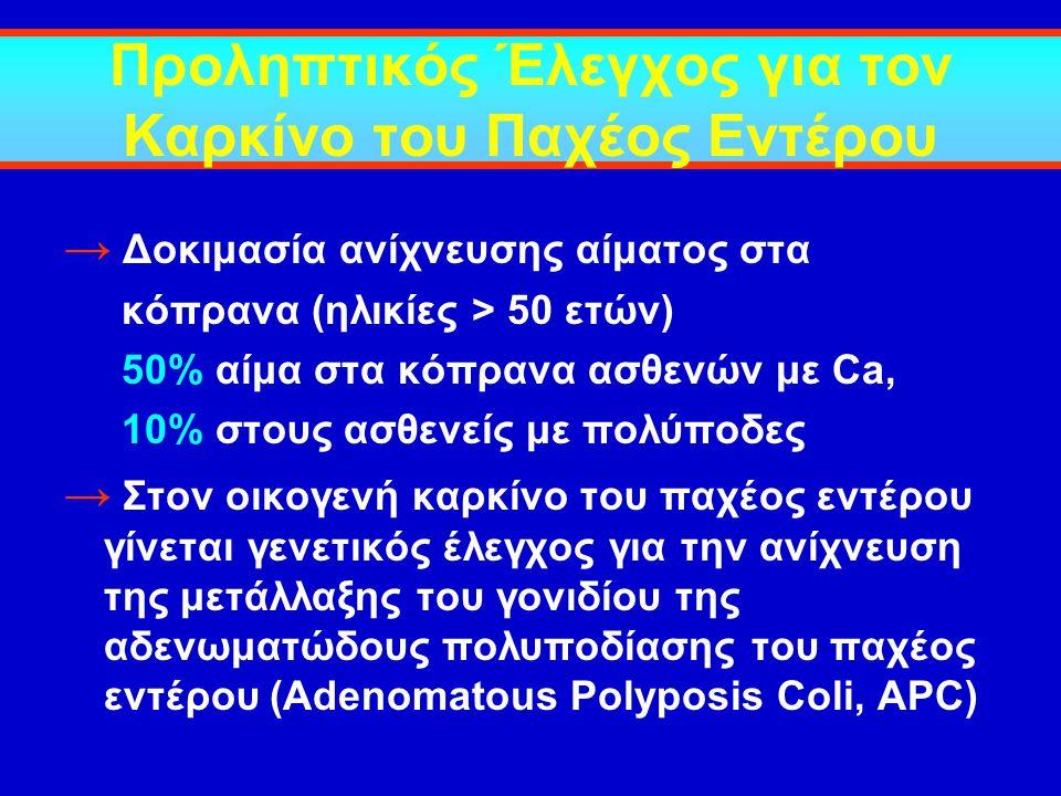 Προληπτικός Έλεγχος για τον Καρκίνο του Παχέος Εντέρου → Δοκιμασία ανίχνευσης αίματος στα κόπρανα (ηλικίες > 50 ετών) 50% αίμα στα κόπρανα ασθενών με