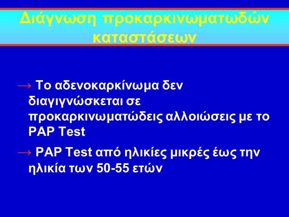 Διάγνωση προκαρκινωματωδών καταστάσεων → Το αδενοκαρκίνωμα δεν διαγιγνώσκεται σε προκαρκινωματώδεις αλλοιώσεις με το PAP Test → PAP Test από ηλικίες μ