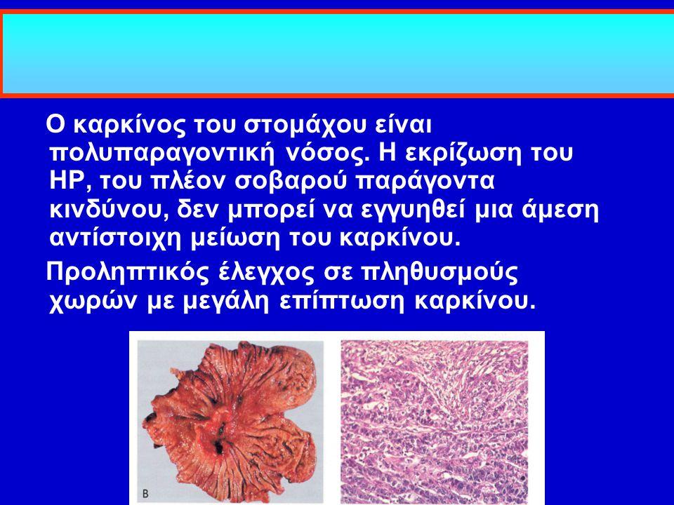 Ο καρκίνος του στομάχου είναι πολυπαραγοντική νόσος. Η εκρίζωση του HP, του πλέον σοβαρού παράγοντα κινδύνου, δεν μπορεί να εγγυηθεί μια άμεση αντίστο