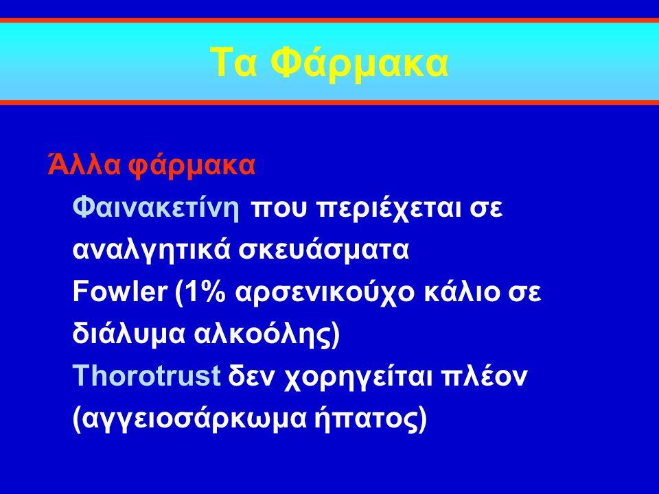 Τα Φάρμακα Άλλα φάρμακα Φαινακετίνη που περιέχεται σε αναλγητικά σκευάσματα Fowler (1% αρσενικούχο κάλιο σε διάλυμα αλκοόλης) Thorotrust δεν χορηγείτα