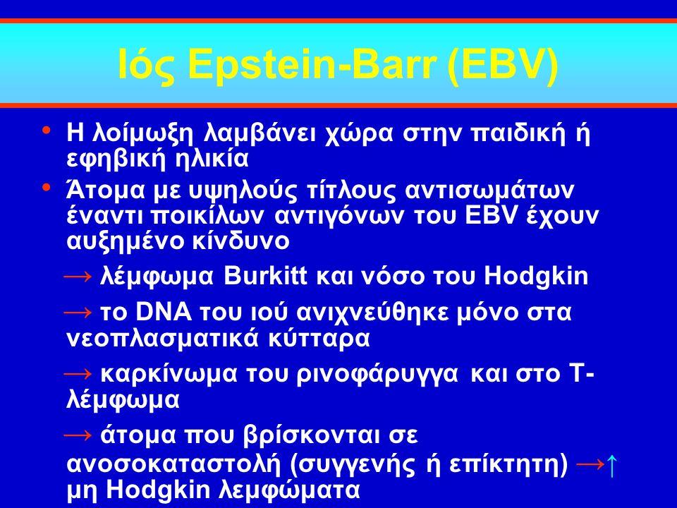 Ιός Epstein-Barr (EBV) Η λοίμωξη λαμβάνει χώρα στην παιδική ή εφηβική ηλικία Άτομα με υψηλούς τίτλους αντισωμάτων έναντι ποικίλων αντιγόνων του EBV έχ