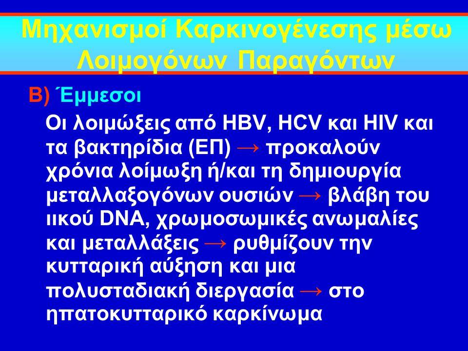 Μηχανισμοί Καρκινογένεσης μέσω Λοιμογόνων Παραγόντων Β) Έμμεσοι Οι λοιμώξεις από HBV, HCV και HIV και τα βακτηρίδια (ΕΠ) → προκαλούν χρόνια λοίμωξη ή/