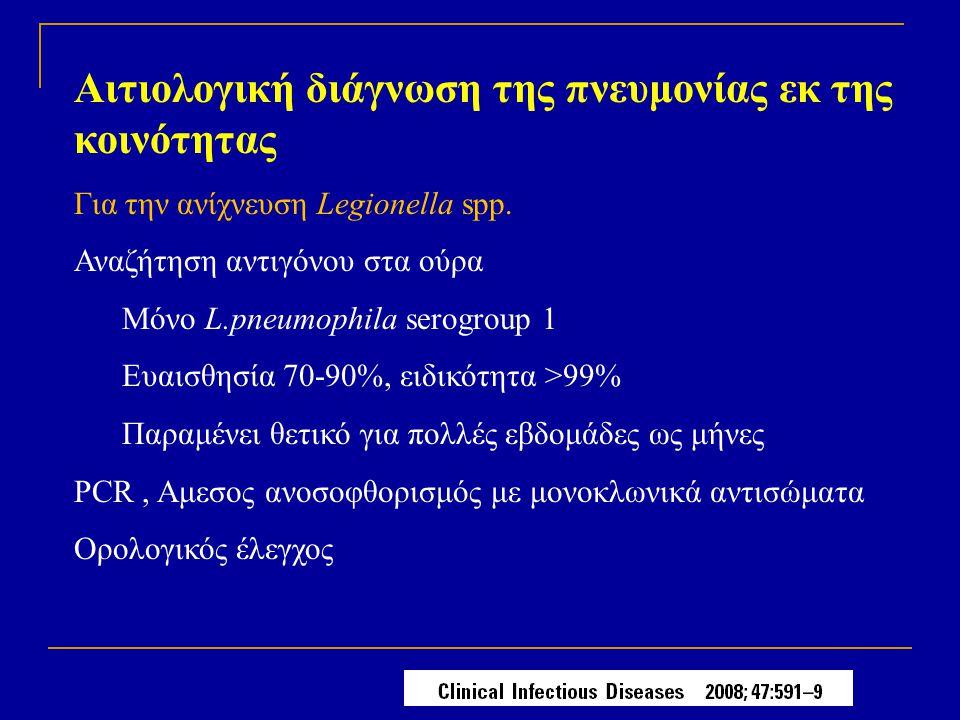 Αιτιολογική διάγνωση της πνευμονίας εκ της κοινότητας Για την ανίχνευση Legionella spp. Αναζήτηση αντιγόνου στα ούρα Μόνο L.pneumophila serogroup 1 Ευ