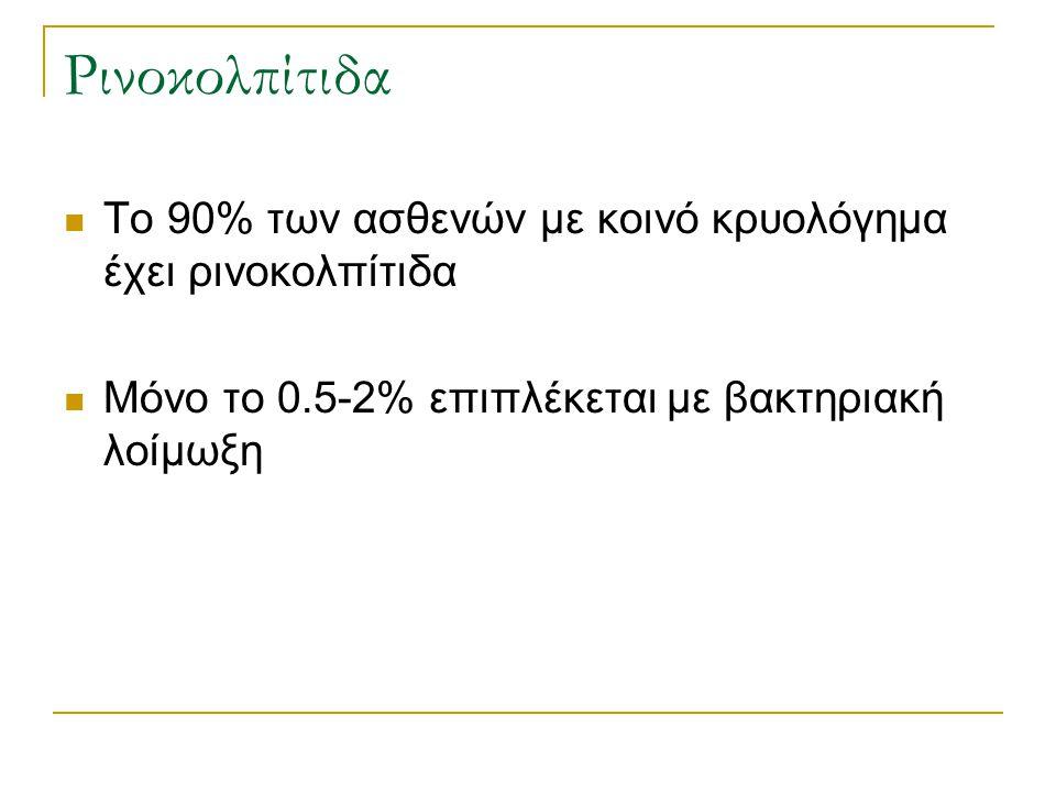 Ρινοκολπίτιδα Το 90% των ασθενών με κοινό κρυολόγημα έχει ρινοκολπίτιδα Μόνο το 0.5-2% επιπλέκεται με βακτηριακή λοίμωξη